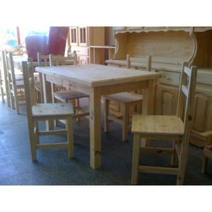 Combo de mesa y sillas de pino nuevas zona del viso