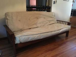Futón cama de 3 posiciones / Colchón de resortes ecocuero