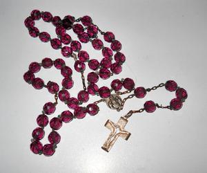antiguo rosario en plata y cristal de roca