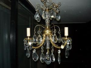 Araña de bronce con caireles 3 luces