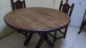 Mesa de algarrobo con tres bancos posot class for Mesa algarrobo precio