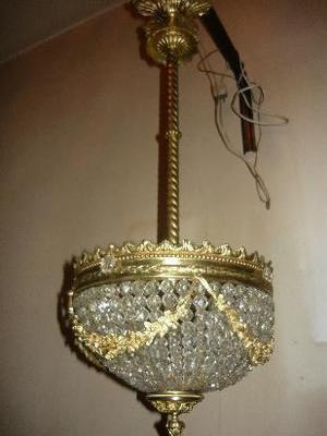 araña de cristal y bronce 2 luces