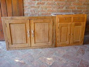 puertas y mueble bajo parrilla de madera de cedro maciza
