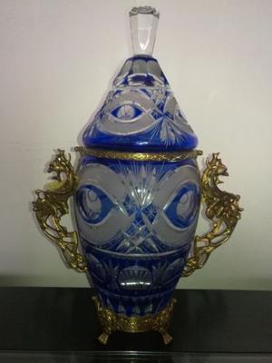 Jarron Imponente De Cristal Checoslovaco Y Bronce 40 cm