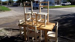 mesa rectangular con seis sillas