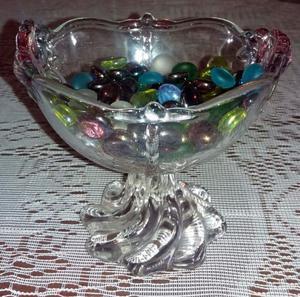 Copon Centro De Mesa De Cristal Color Con Lentejas De Vidrio