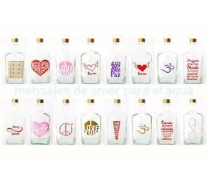 Botellas de vidrio con Frases de Amor x 6 unidades