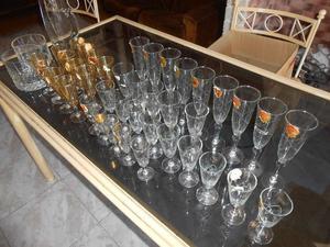 Juego de copas antiguas Cristal Rok