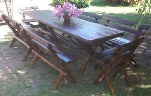 Mesa r stica para quincho en madera 6 bancos posot class for Mesa plegable quincho