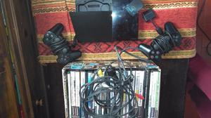 PlayStation 2 con dos joysticks cables c adaptador memoria