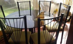 Juego de comedor, mesa y 6 sillas