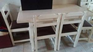 vendo juego de mesa con 6 sillas madera pino guatambu
