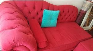 Sillon divan Rojo chaise longue + puff.