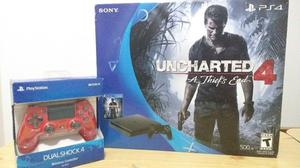 Ps4 Play Station  Gb + Uncharted 4 + 2 Joysticks