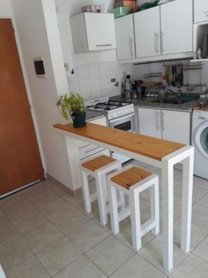 Desayunador-Barra + 2 taburetes en hierro y madera