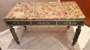 Hermosa mesa ratona de marmol y bronce