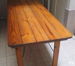 Mesa de quincho mesa estilo campo de pino 3 m posot class for Mesa plegable quincho