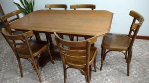 mesa de roble con 6 sillas