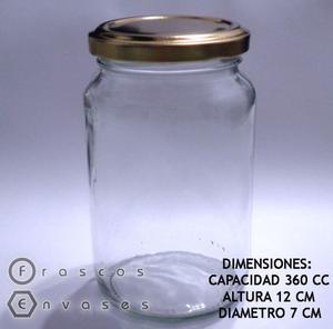FRASCOS DE VIDRIO REDONDOS DE 360 CC. TAPA METÁLICA AXIAL