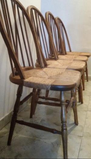 Juego 4 sillas windsor madera cedro asiento junco (sin mesa