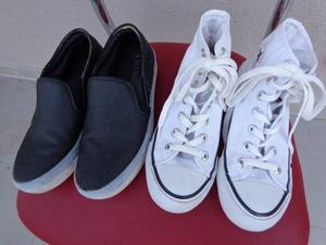 Zapatilla Blanca Y Zapato Negro Muy Buen Estado Talle 34