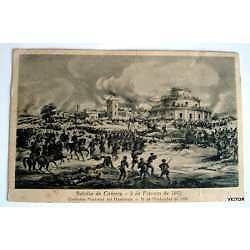 antigua postal batalla de 3 de febrero  homenaje