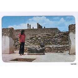 chac - mool vista mexico tula hidalgo postal color