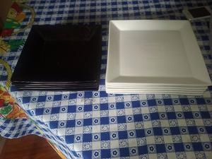 Platos cuadrados negros x hondos x postres posot class for Platos cuadrados de porcelana