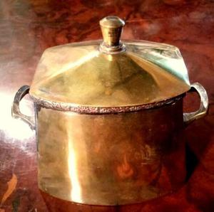 Azucarera Antigua de Metal Plateado