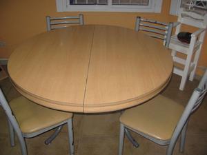 Juego mesa redonda extensible y 6 sillas posot class - Mesa redonda con sillas ...