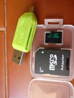 Micro SD 128 gb con adaptador OTG