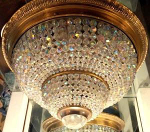 Plafón de techo con cristal de roca y bronce