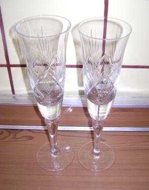 2 Copas Altas Champagne Talladas Diametro 6 Altura 22,5