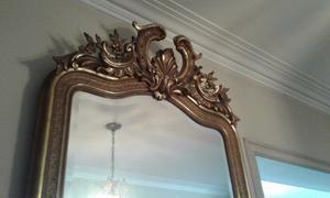 Antiguo Dressoire Dorado A La Hoja + imponente Espejo