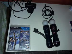 vendo kit move ps3 usado 2 mandos +cable + camara y juego