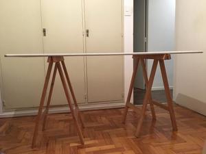 Tabla de mesa y caballetes de madera con posot class - Mesa con caballetes ...