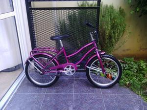 bicicleta de paseo rodado 16 rosa metalizada excelente