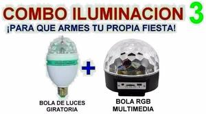 Combo Luces Dj - Bola + Flash RGB 62 leds - La Plata