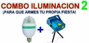 Combo Luces Dj - Bola Giratoria + Laser Mult - La Plata