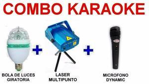 Combo Luces Karaoke - Bola + Laser + Microfono - La Plata