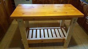 Mesas mesa auxiliar de cocina en madera posot class for Mesa auxiliar para cocina