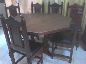 Juego de comedor algarrobo mesa + 6 sillas