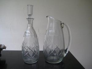 Jarra y botellón de cristal