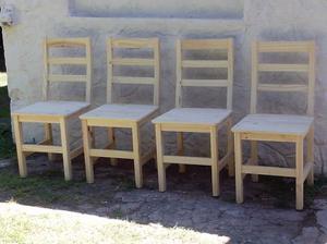 Vendo cuatro sillas de madera natural