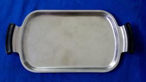 Bandeja de Acero Inoxidable, rectangular, con manijas