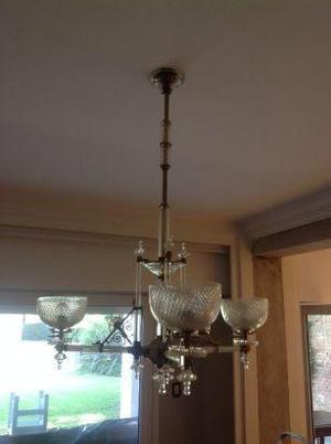 araña lampara de bronce y cristal estilo osler de tres