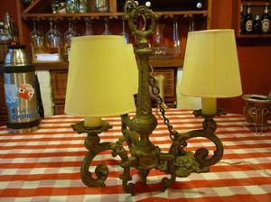 araña lámpara estilo francés de bronce macizo tres
