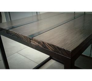 Mesa auxiliar o ratona, en madera y hierro