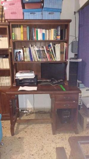 escritorio con biblioteca de algarrobo