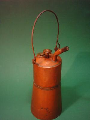 antigua lámpara farol de carburo original en cobre,
